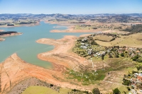 View of the Cantareira reservoir, a water supply system of São Paulo, during a drought