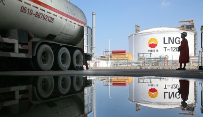 Tanker being loaded at PetroChina's Rudong LNG terminal in Jiangsu Province