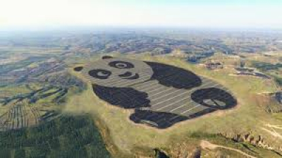 Panda-shaped 50 MW solar PV project in Datong, China, built by UNDP and Panda Green Energy.