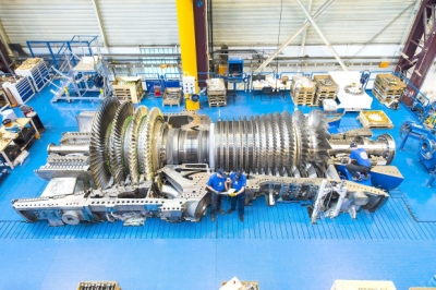 HA turbine during assembly