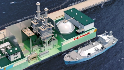 Render of Kawasaki's floating power plant, fueled by LNG