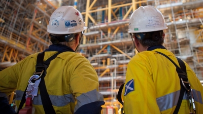 Engineers looking at Prelude FLNG