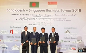 Executives of Summit, SPI, Mitsubishi and Diamond Gas sign the Matabri MoU at the Singapore Business Forum 2018