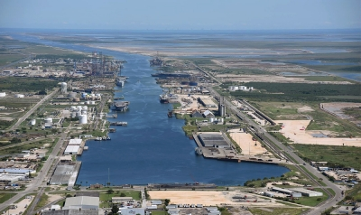Aerial view of Port of Brownsville, Texas