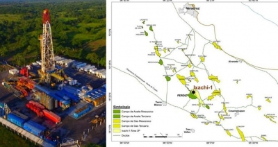Map of Pemex's Ixachi-1 well in Veracruz