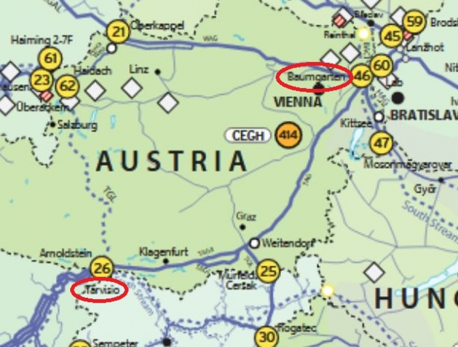 cross-border gas flows resume at baumgarten hub