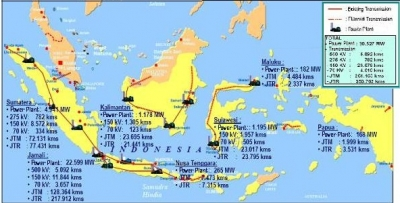 Map of Indonesia's gas and power infrastructure