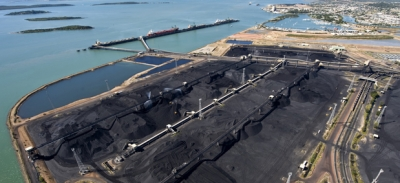 Coal-loading operations at Gladstone port in Queensland, Australia