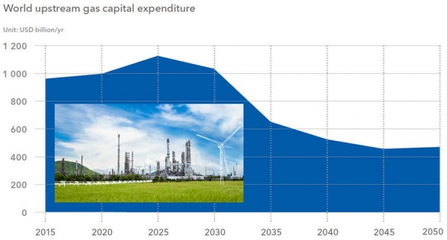 Peak oil forecast for 2023, followed by a peak in gas demand