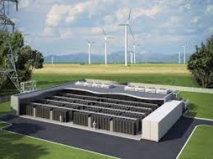Rendering of a grid-tied battery storage system