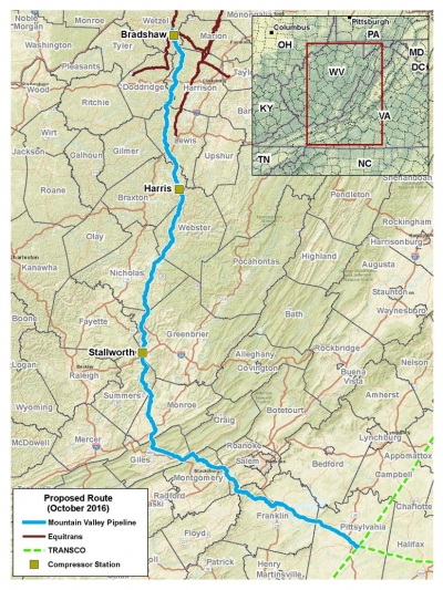 Proposed route of Mountain Valley Pipeline