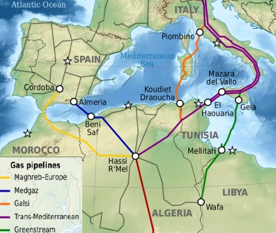 Gas pipelines across the Mediterranean