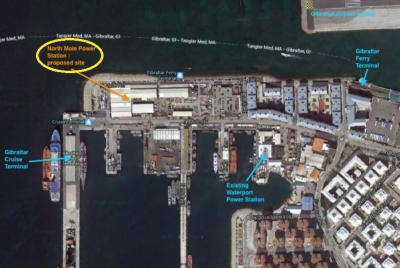Site of new LNG-fuelled power station at North Mole, Gibraltar