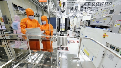 View into a SK Hynix semiconductor factory in South Korea.