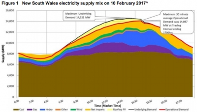 The energy mix during peak demand hours in New South Wales on Feb 10 [source: AEMO]