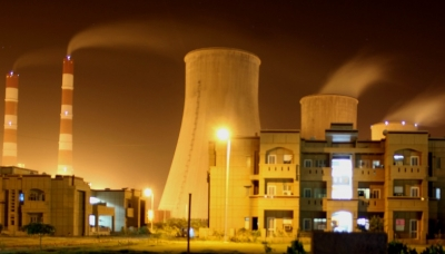 Night view of a thermal power plant in India