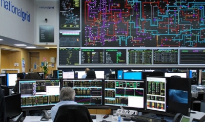 View into the control room of National Grid UK