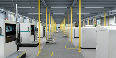 Multiple 3D-printing machines at the Worchester manufacturing site