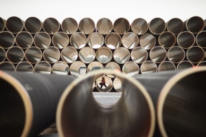 Pipeline tubes, lined up for Nord Stream 2